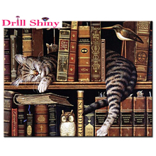 mosaic diamond painting embroidery Cute book shelf sleepy cat beads cross stitch painting handwork picture rhinestones
