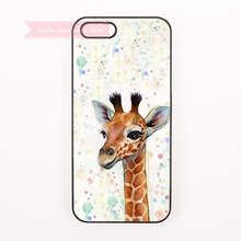 kawaii lovely animal giraffe shy face Hard Back Cover Phone Case For iphone 4 4s 5 5s 5c se 6 6S 7 Plus iPod Touch cases novelty