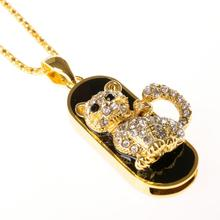 Animal Jewelry Usb Flash Drive Cat Necklace 16g 32gb 64gb Crystal Pen Drive Pendrive Crystal Gift Hard Disk Gadget Usb Memeory