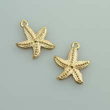 15 pcs free shipping Champagne gold charms diy metal  starfish pendant for necklace&bracelets jewelry making 23*19 mm 33137A
