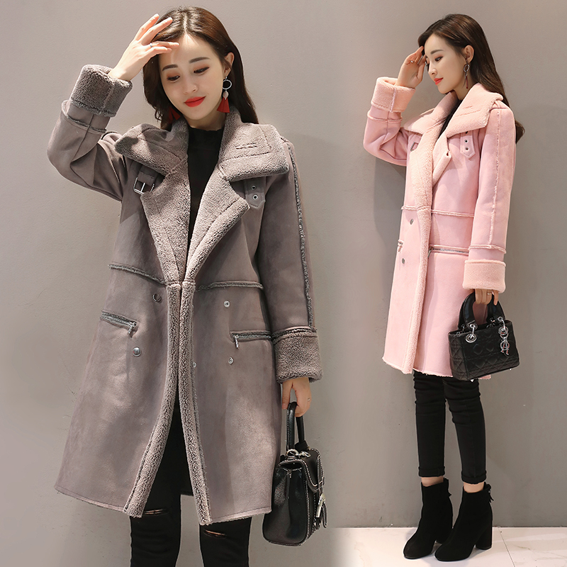 NEW 2019 New Winter Fashion Lambswool Suede Jacket Thicken Coat Warm Long Sleeve Jacket Women Autumn female Long Overcoat