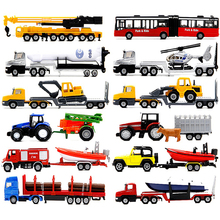 siku Alloy car model Trailer series tram Tanker tractor Grab a wooden car SUV Children's toys ornaments