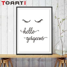 Nordic Hello Word Eyebrow Smile Inspirational Quote Canvas Art Print Painting Poster Nordic Wall Picture Home Decor No Frame(China)