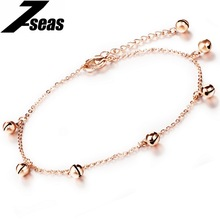 7SEAS Summer Fashion Small Bell Anklets Rose Gold Color Stainless Steel Chain Foot Bracelet Jewelry For Women,JM012