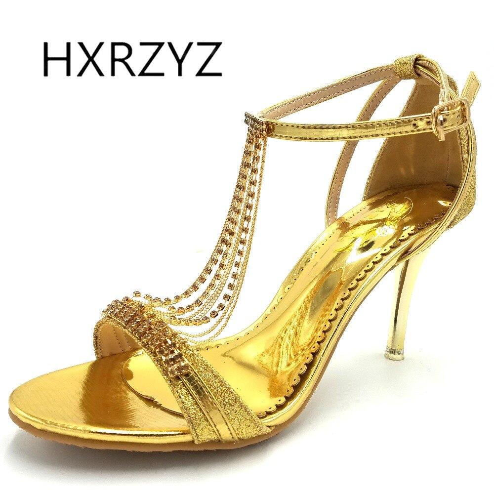 HXRZYZ women sandals rhinestone heels wedding dress shoes 2017 new fashion elegant summer thin heeled buckle strap women shoes<br>