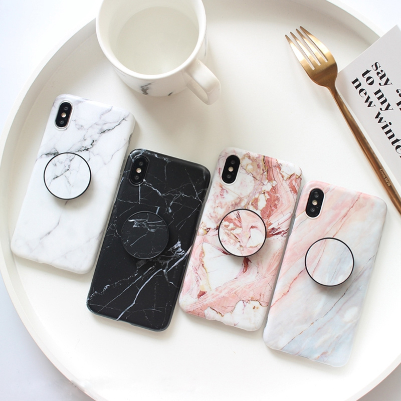 Marble-Shell-Mobile-Phone-Case-For-iPhone-6-6S-7-8-Plus-X-Ring-Holders-Stands-Phone-Wire-Wrapping-Cover