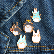 5 Pcs/set Cartoon Cute Cat Series Brooch Fashion Creative Totoro Enamel Pin Brooches For Women Men Denim Jacket Hat Badge Pins(China)