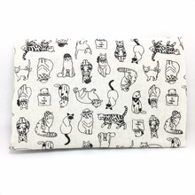 50x150cm Zakka black cute cats linen Fabric Burlap for Sewing Textile Quilting Diy for pillow curtain Purse