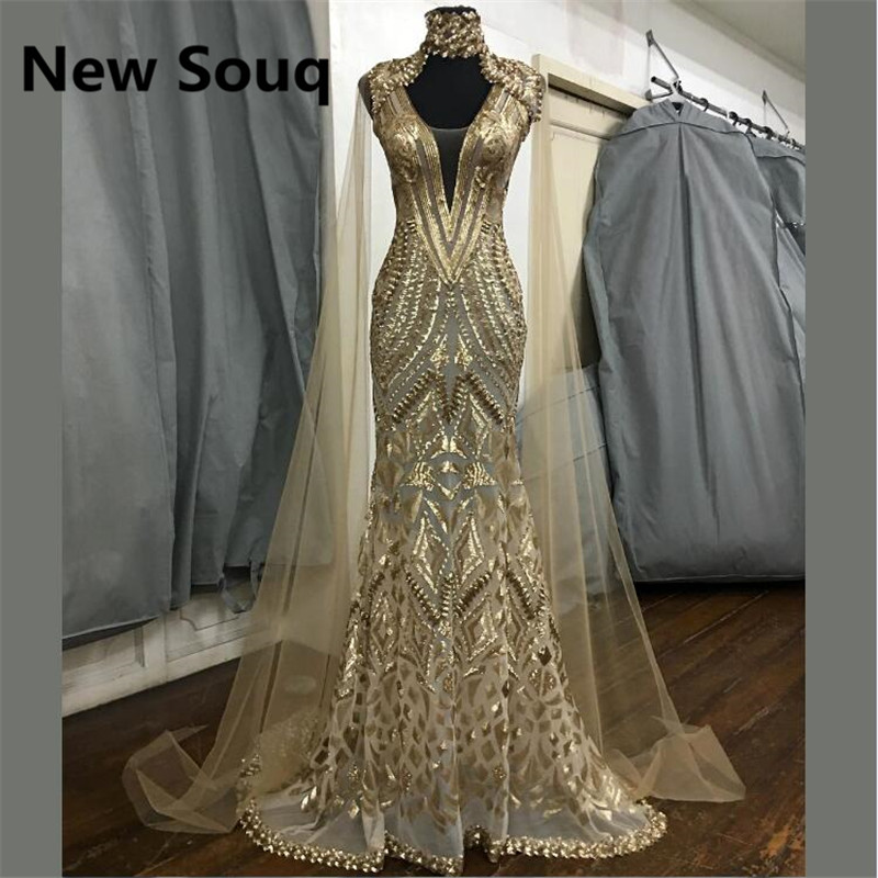 High Neck Mermaid Evening Dresses With Cape Saudi Arabic Dubai Kaftan Muslim Prom Dress Party Gowns Vestido De Festa(China)