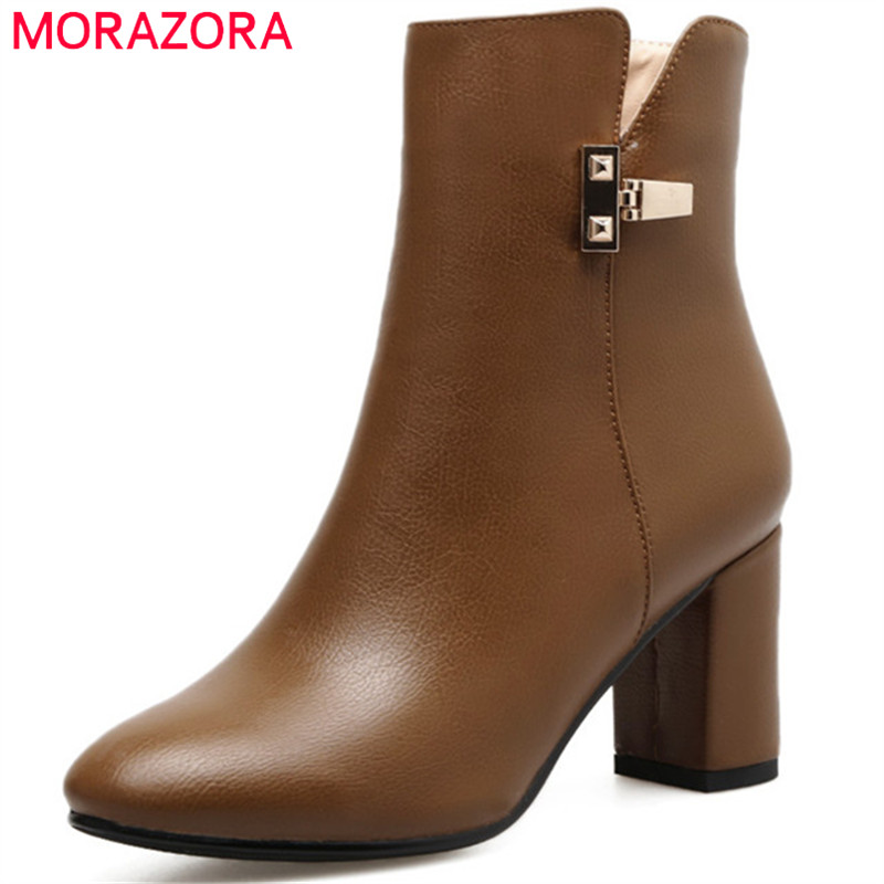 MORAZORA 2018 New arrive ankle boots for women PU soft leather high heels boots fashion shoes woman autumn boots party<br>