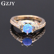 GZJY Beautiful Cute Jewelry Bule/yellow/pink Charm Fire Opal Cubic Zirconia Champagne Gold Color Ring For Women(China)