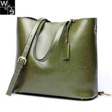 Wallike 2017 AW Women Simple Casual Genuine Leather Handbags Solid Color Large Capacity Tote Bag Fashion Portable Messenger Bag(China)