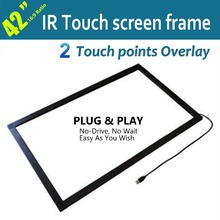 "2 Touches 42"" Infrared Touch screen Frame with USB Port For Touch Panel, LCD Monitor Free Shipping"