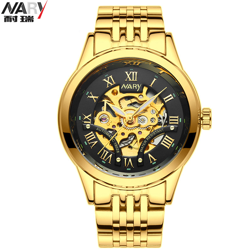 NARY Men Gold Watches Automatic Mechanical Watch Male Skeleton Wristwatch Stainless Steel Band Luxury Brand Sports Design<br>