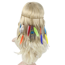 1PC Retro Women Girls Faux Peacock Feather Head Band Beads Boho Bohemian Hippie Braided Hair Band Headdress Festival
