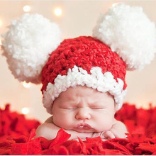 Baby Pom-pom Hat Crochet Knitted Winter Xmas Cap Photography Props Pattern Newborn Toddler Beanie Hat H067