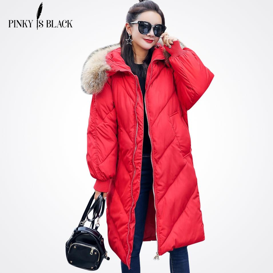 Pinky Is Black 2017 Winter Coat With Fur Collar Women Clothing Outerwear Cotton-padded Jacket Long Slim Casual Fashion ParkasÎäåæäà è àêñåññóàðû<br><br>