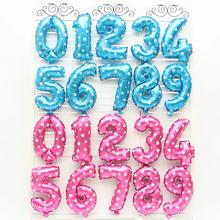 Free Shipping 16inch Free shipping aluminum balloons birthday wedding party 0-9 Blue - Pink toy balloons wholesale(China)