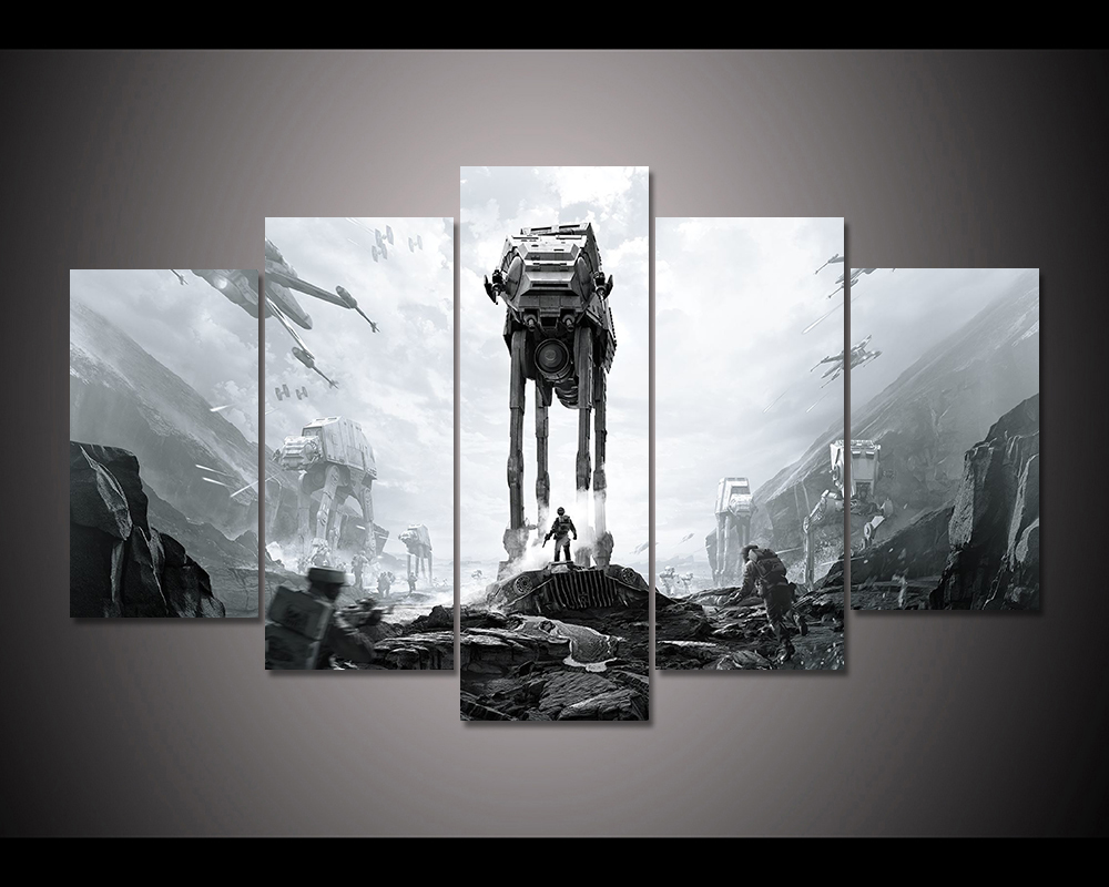 Canvas Posters Living Room Framework HD Prints Pictures 5 Pieces Star Wars Battlefront Movie Paintings Home Decor Wall Art
