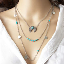 Hot Beach National Style Bohemian Retro Moon Rose Sequin Multi - Layer Combination Necklace Free Shopping(China)