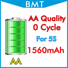 BMT original 10pcs/lot AA Quality 1560mAh 3.7V Battery for iPhone 5S 0 zero cycle replacement repair parts BMTI5S0BTAA(China)