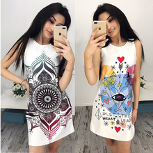 2017 summer fashion women cute printed dresses O-neck sleeveless dress ladies casual dress