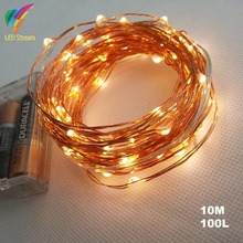 AA Battery Operated 33FT 10M 100 led Christmas Holiday Wedding Party Decoration LED Copper Wire String Fairy Lights Lamps(China)