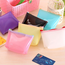 Transparent Plastic Coin Purse Simple Waterproof Women's Money Purses Candy Color Card Wallet Keychain Bag for Women Kids Girls