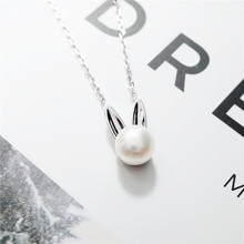 sweet rabbit pearl necklace women 100% 925 Sterling silver nacklace Jewellery Clavicle chain pendant charms gift(China)