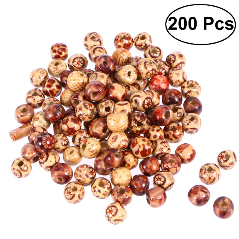 50pcs Wood Natural Color Beads Lot 8MM Craft//Kids Sewing Jewelry Marking 1 Hole
