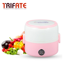 Two layes gray and pink portable stainless steel electric lunch box office mini-rice cooker(China)