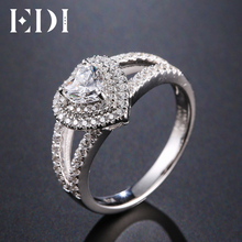 EDI Double Halo 0.5ct Heart Shape Moissanites Diamond 14k 585 White Gold Wedding Rings For Women Fine Jewelry(China)