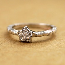 925 Sterling Silver Ring Lovely Star Zirconia Knuckle Midi Mid Finger Pinkie Ring A3236