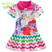 Retail 2017 Summer new girl cartoon Little Mare Polo Dress Cotton Girl Print Striped Dress Tide Girl Short Sleeve Cartoon dress