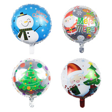 4pcs Round Santa Claus Snowman Christmas Tree Helium Inflatable Foil Balloon Merry Christmas Party Decoration Children Gift Toy