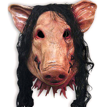 Saw Adult Animal Scary Masks Pig Head with Black Hair Silicon Masks Halloween Party for Full Head Cosplay Costume Moive Tools