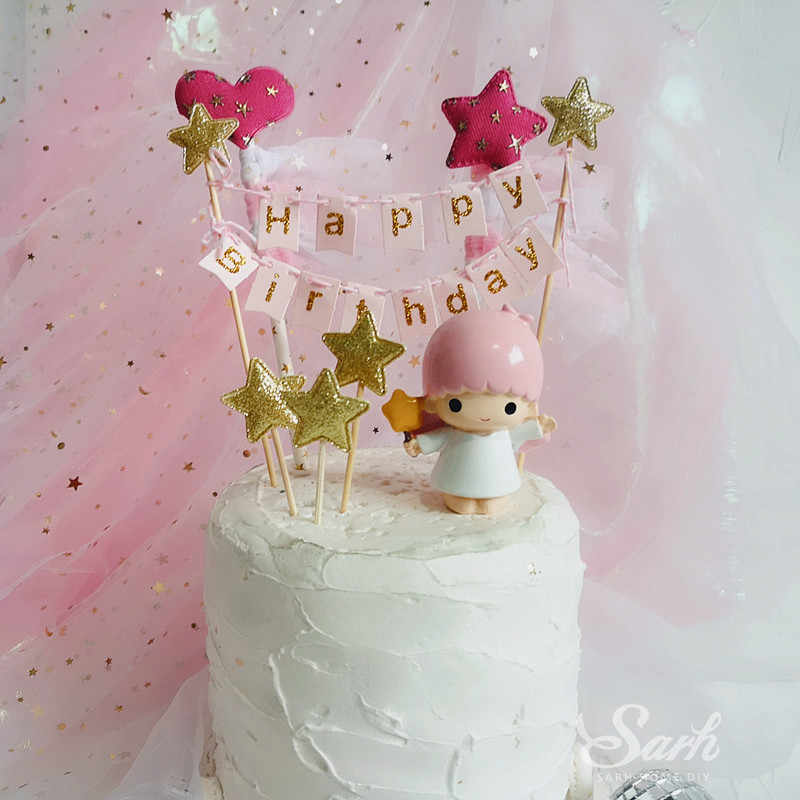 Gold Pink Heart Star Crown Yarn Happy Birthday Cake Topper For