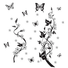 sticker on the fridge black butterfly vine flower wall stickers kitchen decoration decals on the furniture(China)