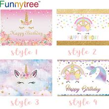 Funnytree Photocall Unicorn Backdrop Cute Pink Gold Colorful Small
