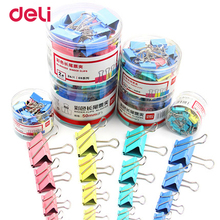 Deli wholesale 6 size 4 color metal binder clip for paper quanlity clips for office file organizer school stationery supplies(China)