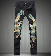 Fashion New Arrival Animal Print Skinny Denim Trouses Man Classic Black Jeans(China)