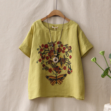 Summer Style Cotton Linen Vintage T-Shirt For Woman Ethnic Flower Butterfly Embroidery Tee Shirts Femme Loose O-Neck Casual Tops(China)