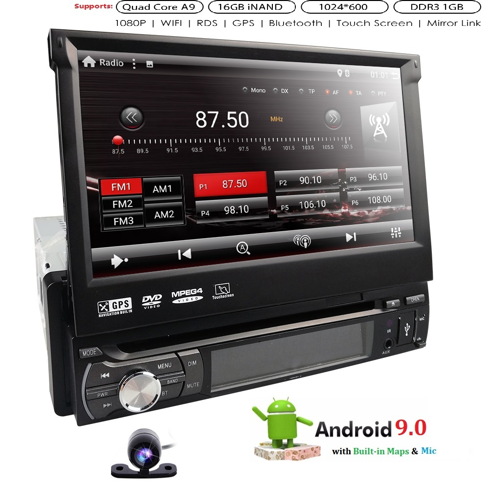 7''Android 9.0 4QuadCore 1GRAM 16GROM Car DVD Radio 2din Universal GPS Navigation Stereo Audio HD 1024*600 WIFI Bluetooth MIC BT