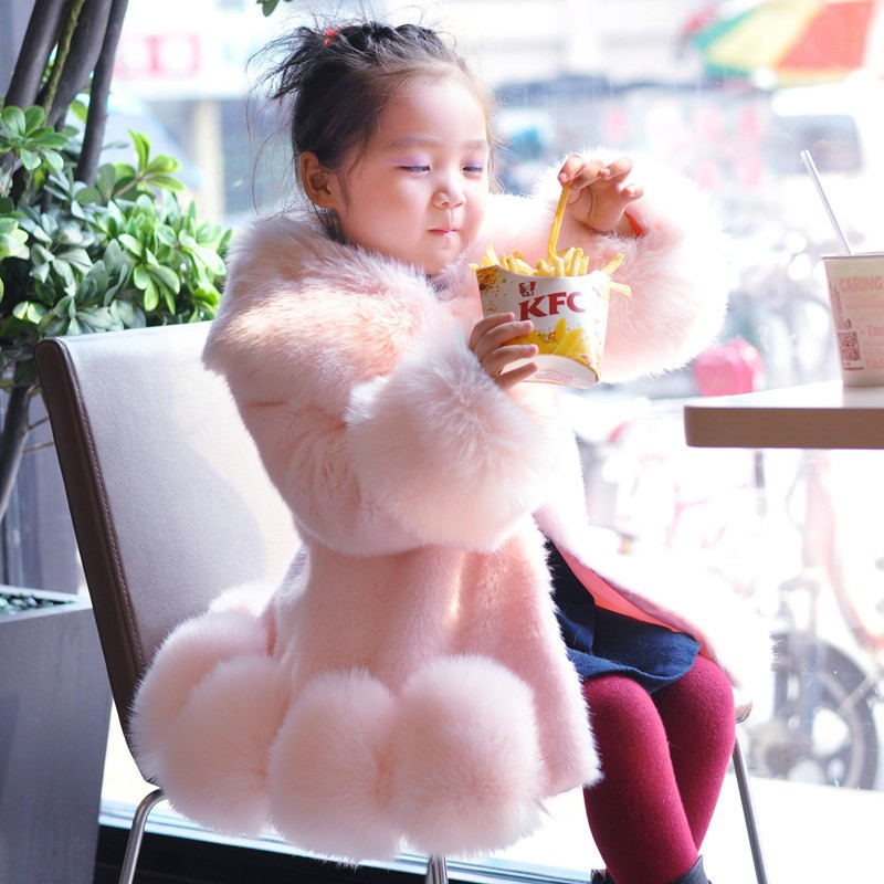 New Baby Girl Long Sleeve Soft False Fur Brand Mink Fox Fur Coat For Girls Spring Autumn Formal Party Kids Coat Wedding Outwear<br>