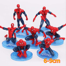 7pcs/set 6-11cm Superheroes Avengers Spider Man Action Figure Spiderman Model Toys for boys gift(China)