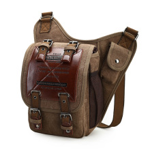 Brand Retro Leather&Canvas Military Army Style Men Messenger Shoulder Crossbody Bag men male waist bag Zipper Bags