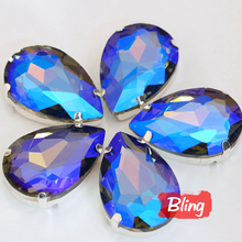 Teardrop Sew On Rhinestones with Claw Black Diamond AB Flatback Setting Glass Crystal Sew Stones For Bags Dresses Clothes B0411
