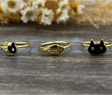 3pcs/set Gold Silver lovely cat fish knuckle rings 3 colors kitty cat cute animal rings for women girls cat lovers jewelry