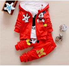 Free shipping,2017 new autumn boys and girls clothes sets,baby  cartoon Mickey coat jacket pants outfit set T-shirt 3 piece suit