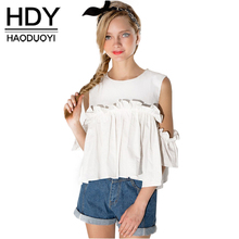 HDY Haoduoyi Pleated Tops Women Butterfly Sleeve Cold Shoulder Female Shirts Sweet Slim Solid White Zippers Blouses Shirts(China)